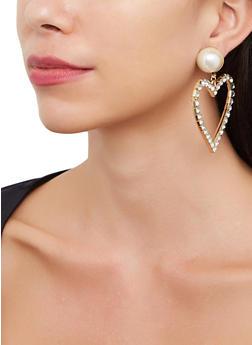 Oversized Heart Drop Earrings - 3135071433102
