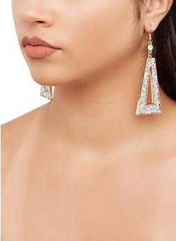 Jewel Encrusted Triangle Drop Earrings - 3135071433104