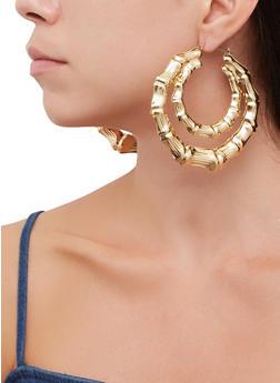 Metallic Double Bamboo Hoop Earrings - 3135071433110