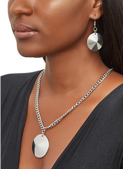 Disc Chain Necklace and Earrings - 3135071433200