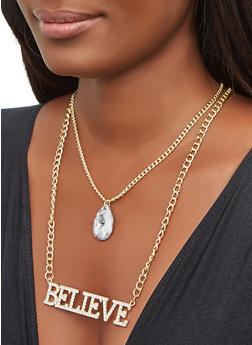 Believe Chain Layered Necklace - 3135071433202