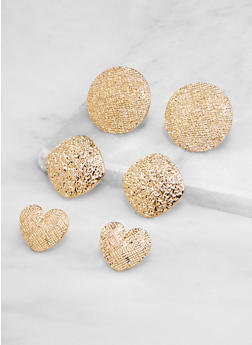 Textured Metallic Geometric Earrings - 3135071433223
