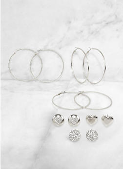 Heart Button Stud and Hoop Earrings Set - 3135071433225