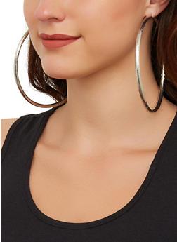 Jumbo Textured Hoop Earrings - 3135071433310