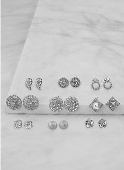 Set of 9 Assorted Stud Earrings - 3135071433505