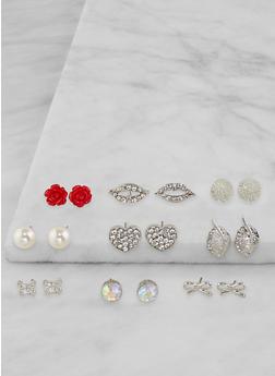 Assorted Rhinestone Stud Earrings Set - 3135071433506