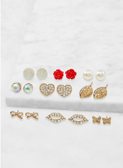 Assorted Rhinestone Stud Earrings Set - 3135071433506