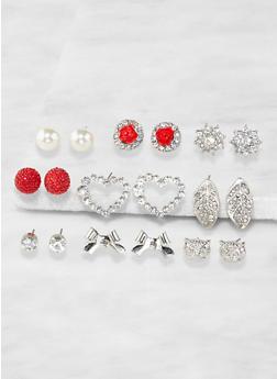 Set of 9 Assorted Stud Earrings - 3135071433508