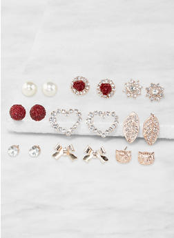 Set of 9 Assorted Stud Earrings - 3135071433508