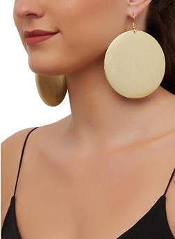Metallic Disc Drop Earrings - 3135071434435