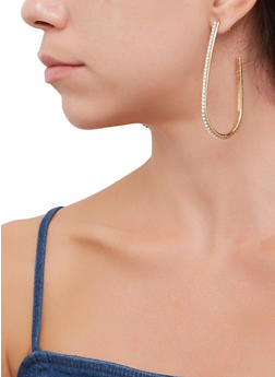 Rhinestone Hook Earrings - 3135071435338