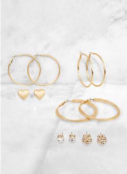 Rhinestone Cluster Stud and Metallic Hoop Earrings - 3135071435535