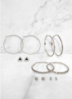 Assorted Textured Hoop and Stud Earrings - 3135071435536