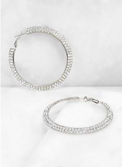 Two Row Rhinestone Hoop Earrings - 3135071435537