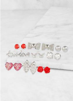 Set of 9 Assorted Stud Earrings - 3135071437053