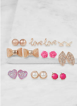 Set of 9 Assorted Stud Earrings - 3135071437053