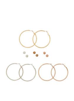 Set of 6 Assorted Stud and Hoop Earrings - 3135072373105