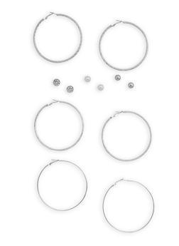 Set of 6 Stud and Textured Hoop Earrings - 3135072373108