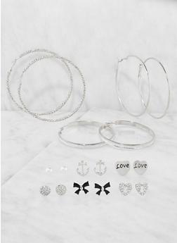 Set of 9 Metallic Hoop and Stud Earrings - 3135072690041