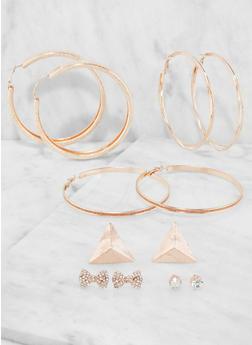 Set of 6 Metallic Hoop and Stud Earrings - 3135072690089