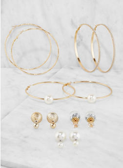 Set of 6 Reversible Stud and Hoop Earrings - 3135072690099
