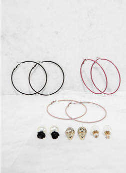 Reversible Stud and Hoop Earrings Set - 3135072690100