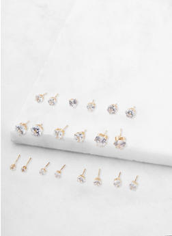 Set of 10 Assorted Cubic Zirconia Stud Earrings - 3135072690310