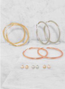 Set of Metallic Mesh Hoop and Stud Earrings - 3135072690401