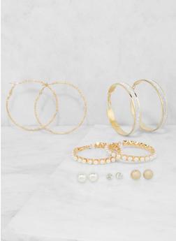 Set of Assorted Faux Pearl Stud and Hoop Earrings - 3135072690473