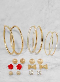 Set of 9 Assorted Hoop and Stud Earrings - 3135072690477