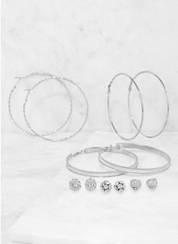 Set of 6 Assorted Hoop and Stud Earrings - 3135072690506