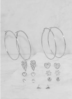 Set of 9 Stud and Hoop Earrings - 3135072690566