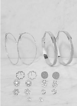Set of 9 Assorted Hoop and Stud Earrings - 3135072690569