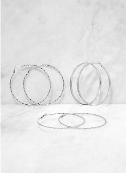Rhinestone Multi Size Hoop Earring Trio - 3135072690589