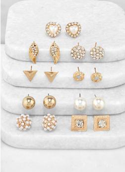 9 Assorted Stud Earrings - 3135072690591