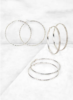 Textured Hoop Earring Trio | 3135072690658 - 3135072690658