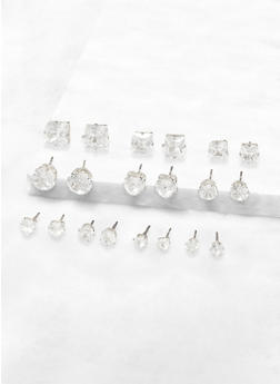 Set of 10 Cubic Zirconia Stud Earrings - 3135072691441
