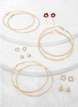 Metallic Hoop and Flower Stud Earrings - 3135072691482