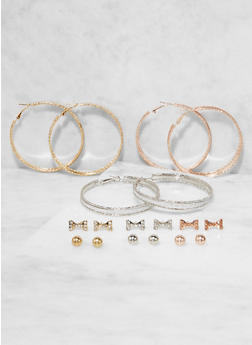 Bow Studs and Glitter Hoop Earrings Set - 3135072691667