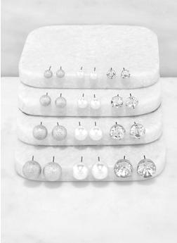 Faux Pearl Rhinestone and Metallic Stud Earrings - 3135072692151