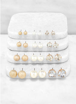 Faux Pearl Rhinestone and Metallic Stud Earrings - 3135072692151