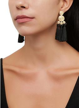 Metallic Disc Triple Tassel Earrings - 3135072692336