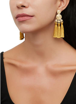 Metallic Disc Triple Tassel Earrings - 3135072692336