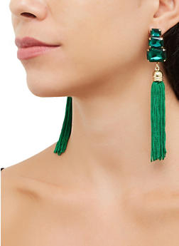 Jeweled Tassel Drop Earrings - 3135072692368