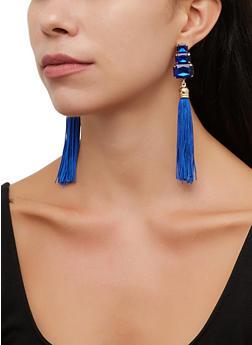 Jeweled Tassel Drop Earrings - 3135072692368