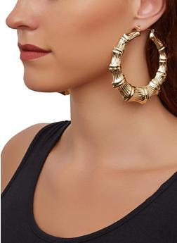 Metallic Bamboo Hoop Earrings - 3135072692819