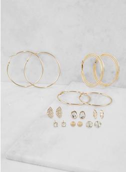 Set of 9 Assorted Hoop and Stud Earrings - 3135072693097