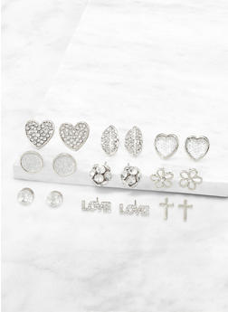 9 Assorted Heart Stud Earrings - 3135072693352