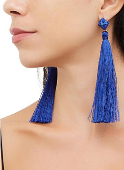Pyramid Tassel Drop Earrings - 3135072693367