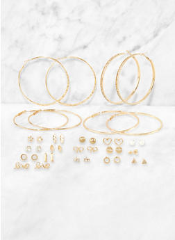 Rhinestone Stud and Hoop Earrings Set | 3135072693373 - 3135072693373